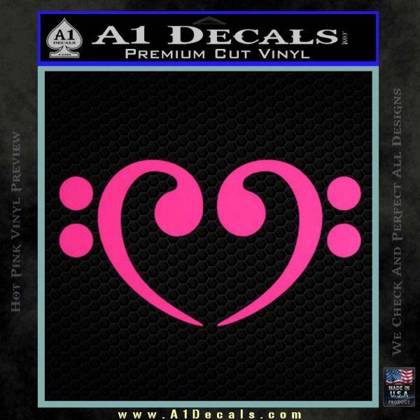 Bass Clef Heart Decal Sticker Pink Hot Vinyl