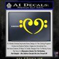 Bass Clef Heart Decal Sticker Yellow Laptop 120x120