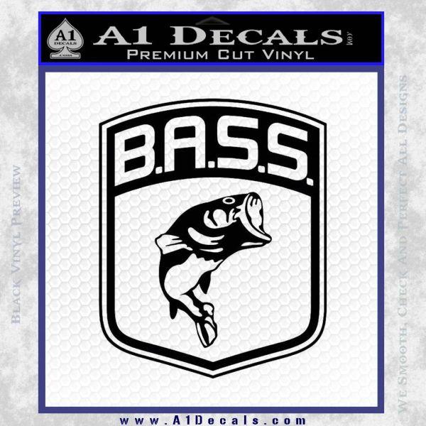 Bass Fishing Decal Sticker Emblem Black Vinyl
