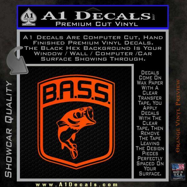 Bass Fishing Decal Sticker Emblem Shield 187 A1 Decals