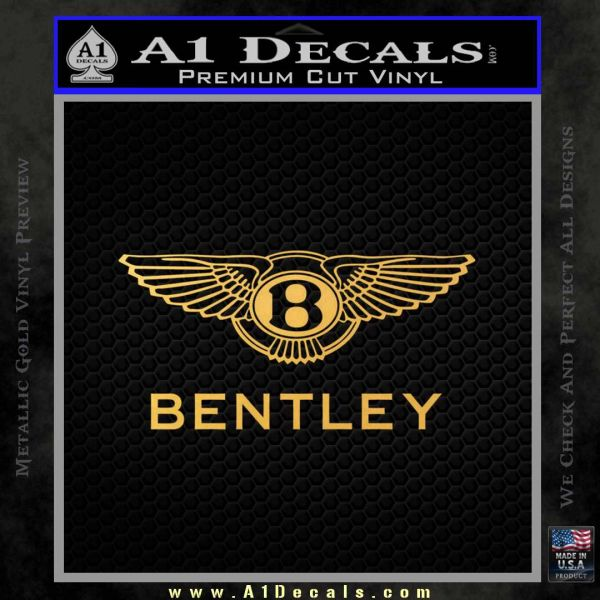 Bently Motors Stacked Decal Sticker Gold Vinyl