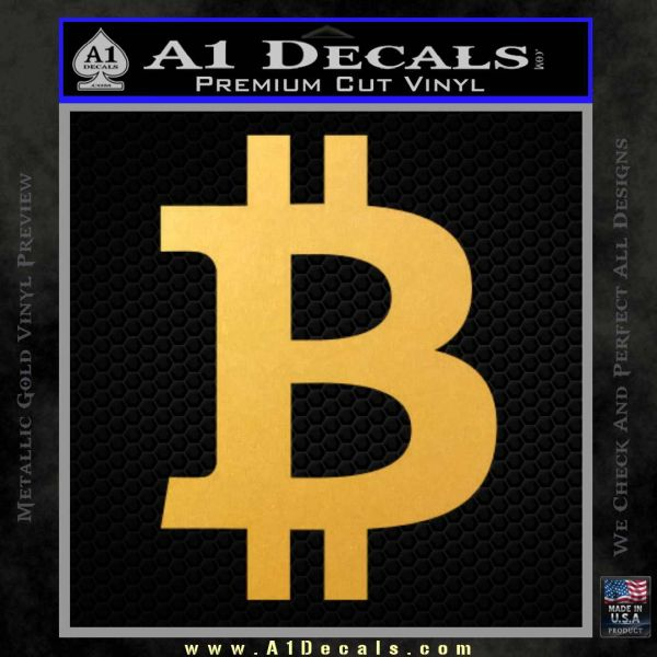 Bitcoin D1 Decal Sticker Gold Vinyl