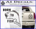 Born To Fish Decal Sticker Carbon FIber Black Vinyl 120x97