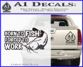 Born To Fish Decal Sticker Forced To Work Carbon FIber Black Vinyl 120x97