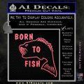 Born To Fish Decal Sticker Pink Emblem 120x120