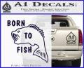 Born To Fish Decal Sticker PurpleEmblem Logo 120x97