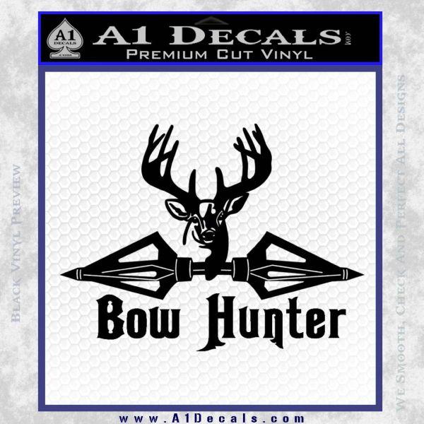 Bow Hunter Decal Sticker Intricate Black Vinyl