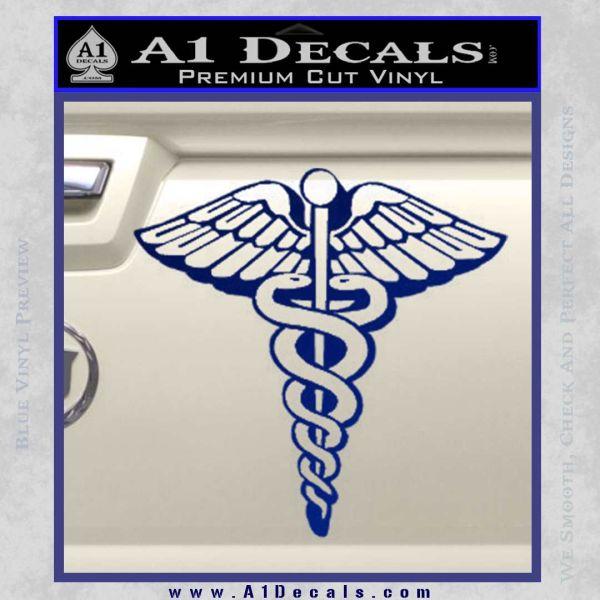 Caduceus Medical Symbol D1 Decal Sticker Blue Vinyl