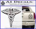 Caduceus Medical Symbol D1 Decal Sticker Carbon FIber Black Vinyl 120x97