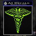 Caduceus Medical Symbol D1 Decal Sticker Lime Green Vinyl 120x120