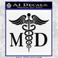 Caduceus Medical Symbol Md Decal Sticker Black Vinyl 120x120