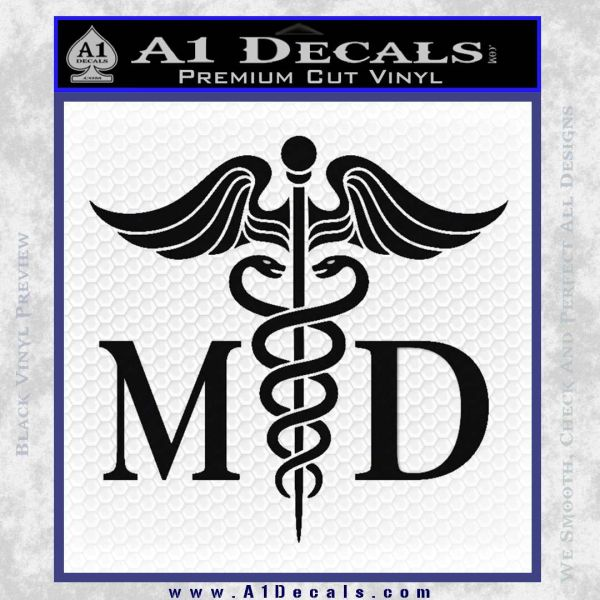 caduceus medical symbol md decal sticker a1 decals