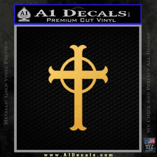 Celtic Circle Cross Decal Sticker Crucifix Gold Vinyl