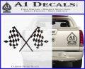 Checker Flag Decal Sticker Carbon FIber Black Vinyl 120x97