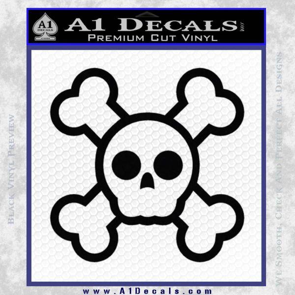 Chibi Skull And Crossbones Decal Sticker Black Vinyl