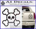 Chibi Skull And Crossbones Decal Sticker Carbon FIber Black Vinyl 120x97