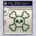 Chibi Skull And Crossbones Decal Sticker Dark Green Vinyl 120x120