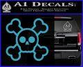 Chibi Skull And Crossbones Decal Sticker Light Blue Vinyl 120x97