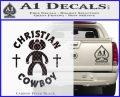 Christian Cowboy Decal Sticker Carbon FIber Black Vinyl 120x97