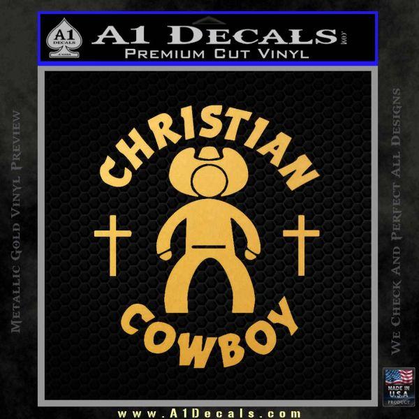 Christian Cowboy Decal Sticker Gold Vinyl