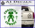 Christian Cowboy Decal Sticker Green Vinyl Logo 120x97