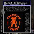 Christian Cowboy Decal Sticker Orange Emblem 120x120