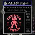 Christian Cowboy Decal Sticker Pink Emblem 120x120