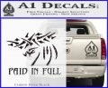 Christian Decal Sticker Paid In Full Carbon FIber Black Vinyl 120x97