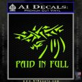 Christian Decal Sticker Paid In Full Lime Green Vinyl 120x120