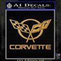Corvette Flags Decal Sticker Gold Vinyl 120x120