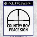 Country Boy Peace Sign Decal Sticker Black Vinyl 120x120