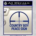 Country Boy Peace Sign Decal Sticker Blue Vinyl 120x120