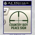Country Boy Peace Sign Decal Sticker Dark Green Vinyl 120x120