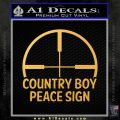 Country Boy Peace Sign Decal Sticker Gold Vinyl 120x120
