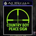 Country Boy Peace Sign Decal Sticker Lime Green Vinyl 120x120