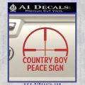 Country Boy Peace Sign Decal Sticker Red 120x120