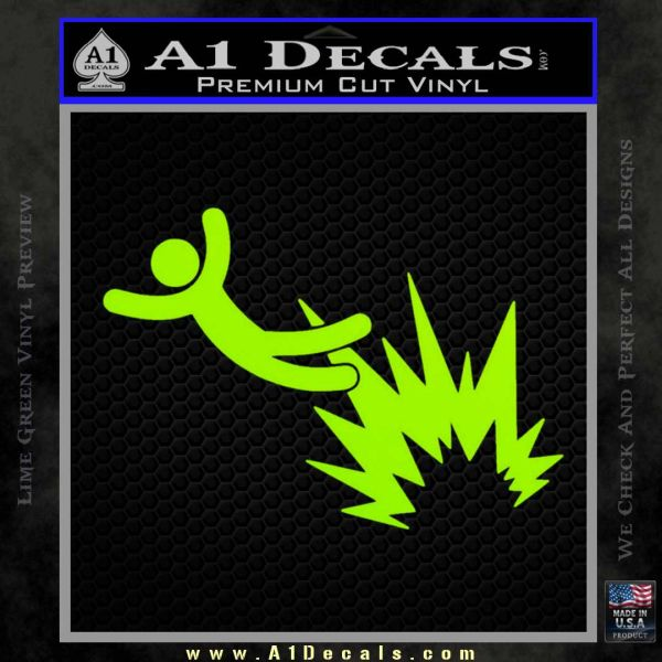 Crash Explosion JDM Decal Sticker Lime Green Vinyl