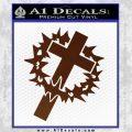 Cross Crucifix Decal Sticker Christian Thorns BROWN Vinyl 120x120