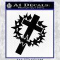 Cross Crucifix Decal Sticker Christian Thorns Black Vinyl 120x120