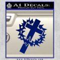 Cross Crucifix Decal Sticker Christian Thorns Blue Vinyl 120x120