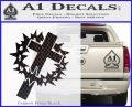 Cross Crucifix Decal Sticker Christian Thorns Carbon FIber Black Vinyl 120x97