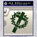 Cross Crucifix Decal Sticker Christian Thorns Dark Green Vinyl 120x120