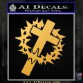 Cross Crucifix Decal Sticker Christian Thorns Gold Vinyl 120x120