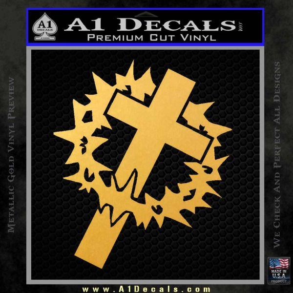 Cross Crucifix Decal Sticker Christian Thorns Gold Vinyl