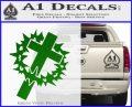Cross Crucifix Decal Sticker Christian Thorns Green Vinyl Logo 120x97