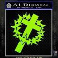 Cross Crucifix Decal Sticker Christian Thorns Lime Green Vinyl 120x120