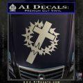 Cross Crucifix Decal Sticker Christian Thorns Metallic Silver Emblem 120x120