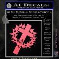 Cross Crucifix Decal Sticker Christian Thorns Pink Emblem 120x120