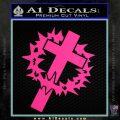 Cross Crucifix Decal Sticker Christian Thorns Pink Hot Vinyl 120x120