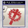 Cross Crucifix Decal Sticker Christian Thorns Red 120x120